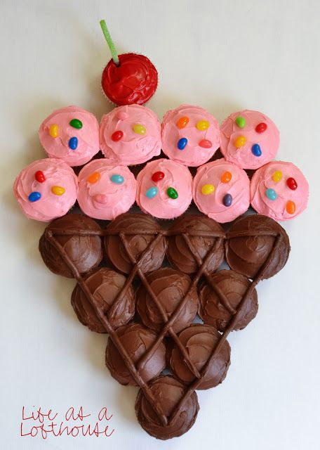 21 Pull Apart Cupcake Cake Ideas Sundae Ice Cream Cone | Pretty My Party