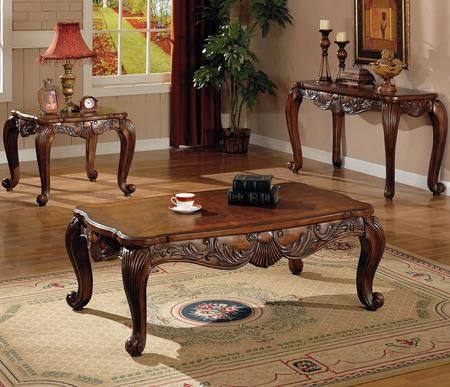 Venice 700468CES 3 PC Living Room Table Sets with Coffee Table + End Table + Sofa Table in Deep Brown Finish