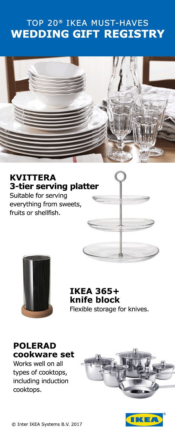 """Check out the top 20 picks from the IKEA Wedding Gift Registry! These """"must haves"""" include 20 things you can't live without as you start your new life together, like dinnerware, bathroom textiles and cookware."""