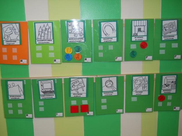 keuzebord: oranje= moetjes, lichtgroen= magjes, groen = zelfstandig spelen