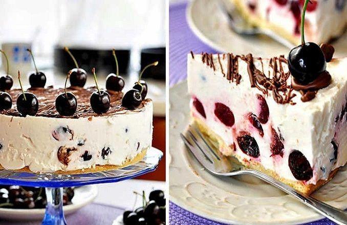 Tvarohová torta s čerešňami - Receptik.sk