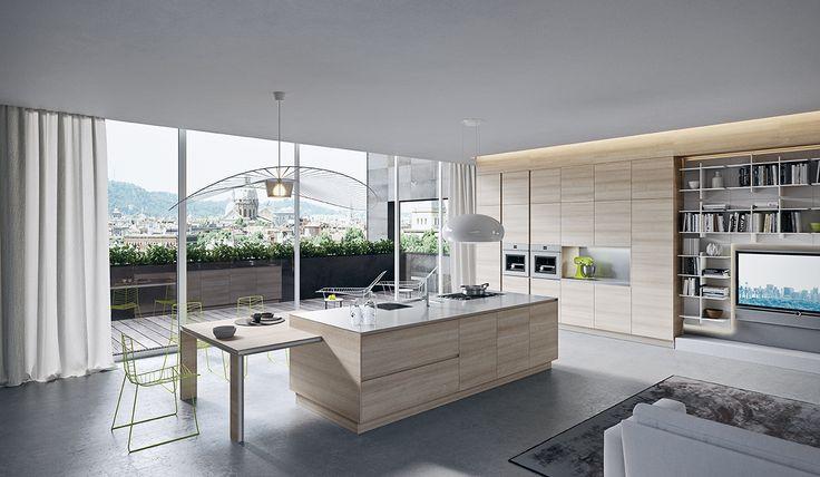 Una cucina spaziosa protagonista della casa Ak06 Ariital Cucine מטבחי אריטל איטליה