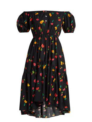 Dress Bow Constas Print Bardot Cotton Blend Caroline Blue Floral YOqxgg