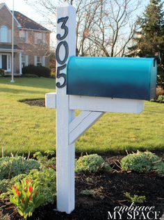 Renovate your Mailbox - lightly sand, spray primer, then spray with the color you want, let dry, spray with clear matte exterior sealant to protect. Sand, prime, and paint wood stand, add street numbers