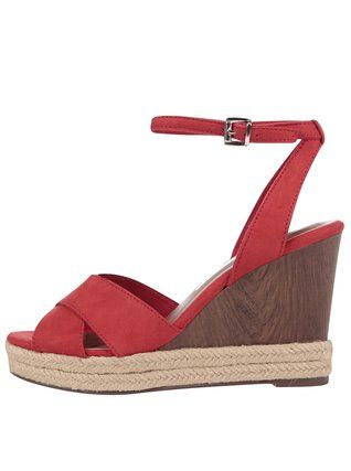 Tamaris - Červené sandály na klínku - 1