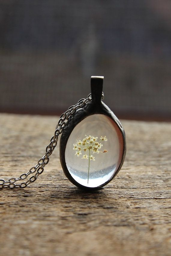 Fleurs séchées véritable verre déclaration nostalgique mariée rétro vintage perles déclaration pendentif collier rond