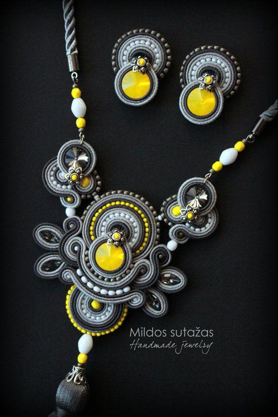 Handmade soutache set  earrings and necklace/pendant