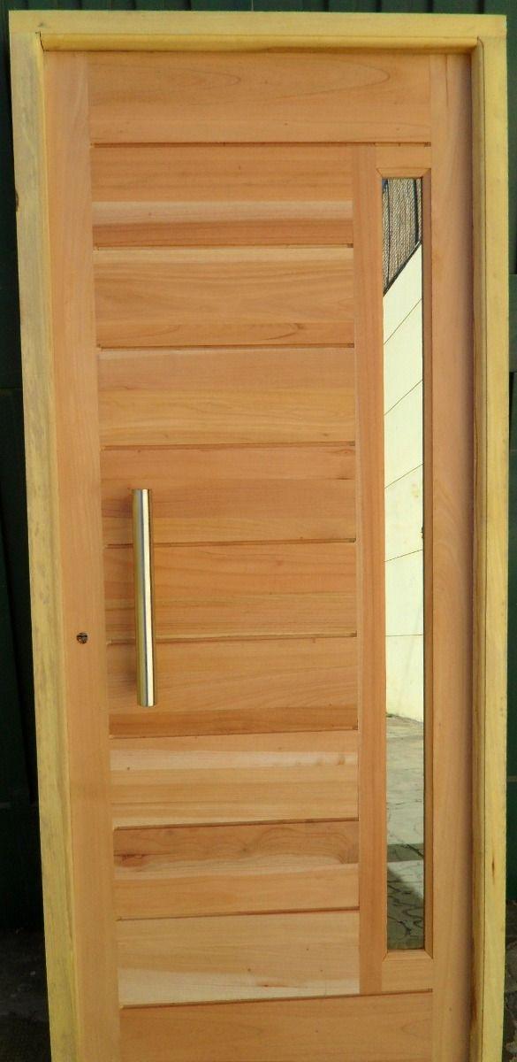 Puerta de madera en cedro con barral y vidrio for Puertas interiores de madera con vidrio