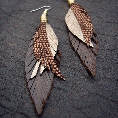 Leather Feather Earrings Gold Bronze and Brown by CyclonaDesigns
