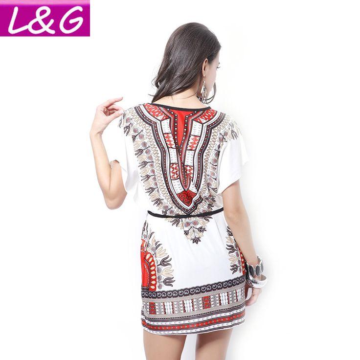 Vintage Boho Traditional African Print White Summer Dress
