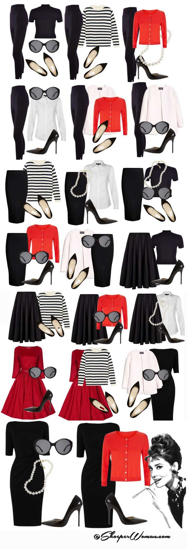 Audrey Hepburn style outfits from small capsule wardrobe. @laurencm