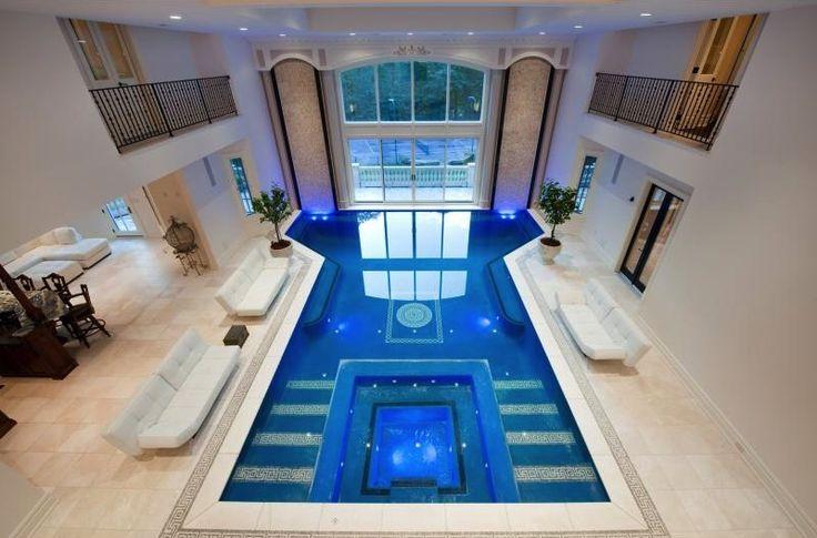 Indoor Pool Stone Mansion Saddle River Nj Dream