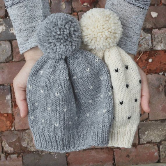 hand knit polka dot toddler pom pom hat // grey & white fair isle baby girl pompom beanie // soft warm wool baby girl cap