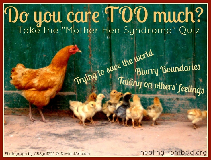 "Take the quiz... Do you have ""Mother Hen Syndrome*""?  I sure do.  As someone with Borderline Personality Disorder, a combination of issues around my sense of identity and my sometimes blurry experience of boundaries in relationships cause me to take on more than my responsibility when it comes to others.  Let's see if you can relate."