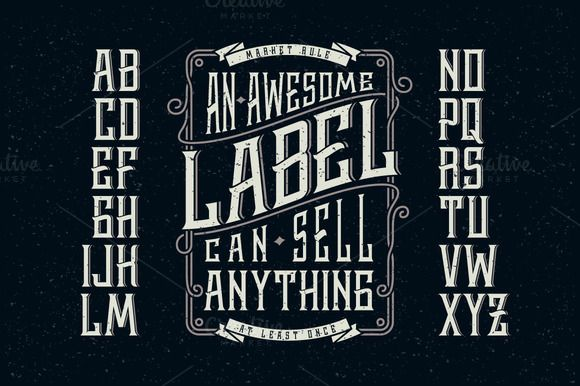 Whiskey label font + design elements by Gleb Guralnyk on Creative Market