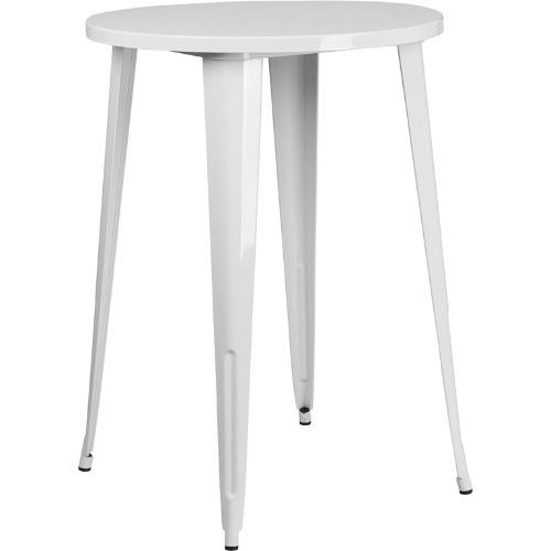 30'' Round White Metal Indoor-Outdoor Bar Height Table