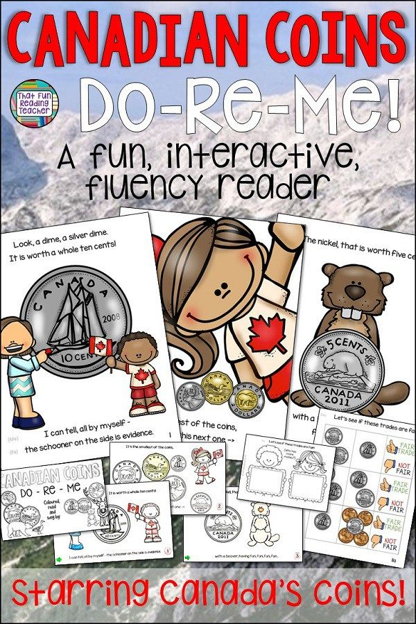 It's easy for kids to learn and remember the names and values of Canadian Coins with this fun fluency reader, sung to the tune of Do-Re-Me! It's a great mneumonic and they enjoy the hands-on activities they can use with peers! $ #education #teaching #canada #canadianteacher #canadiancoins #grade1 #grade2 #iteachtoo #tpt #teacherspayteachers