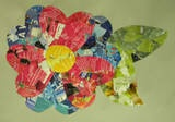 Valentines art - choose a colour for a flower and cut out heart shapes from magazine pages that have that colour on them