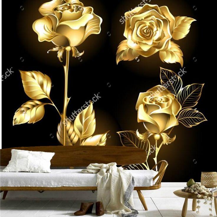Роза обои, множество золотых, блестящие розы, ретро-модель для гостиной спальня ресторан фоне стены виниловые обои