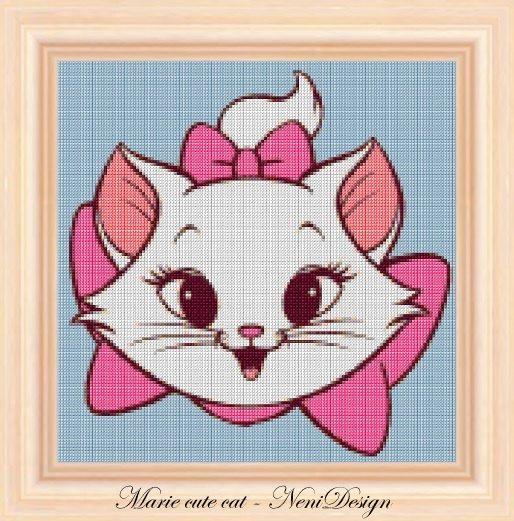 Marie cute cat  cross stitch pattern  PDF pattern  by NeniDesign