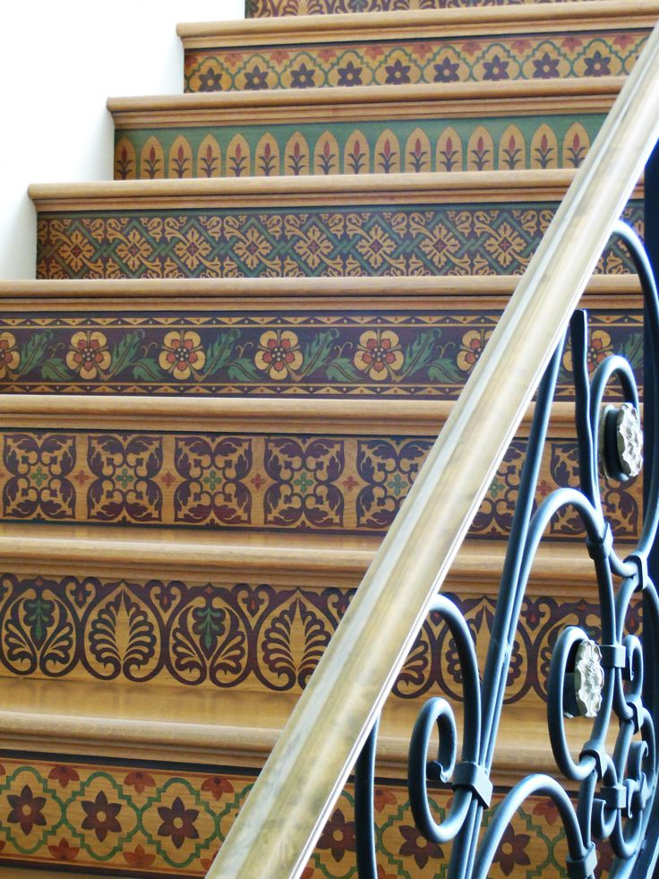 Wood Marquetry Stairs - Painted and Stenciled Stair Risers - Painted by Julie Young - Custom Modello Stencils with Old World, European, Spanish Colonial Designs