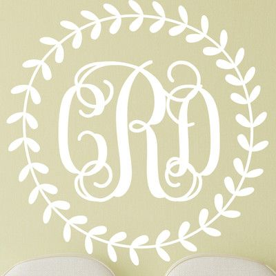 "Alphabet Garden Designs Rustic Wreath Interlock Monogram Personalized Wall Decal Color: Chocolate, Size: 28"" H x 28"" W"