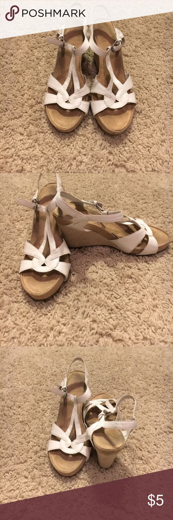 White wedges Strappy white and tan wedges Shoes Wedges