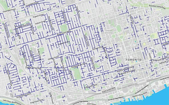 A map of every laneway in Toronto: Toronto is a city of laneways. There are over 250 kilometres of these mostly unnoticed urban arteries, places that are typically granted practical status but that also serve as the site of some of the city's best graffiti, some of our most interesting houses, and more basketball and road hockey...