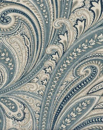 Large scale paisley designs printed on a linen blend base create this southwestern themed fabric. Colors are navy, chambray, and tan on a natural background. This fabric is perfect for draperies and curtains, bedding (duvets, comforters, etc), slipcovers, bedskirts, cornices, pillows, and more. Medium drape.