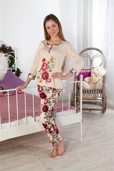 уютная пижама с принтом роз
