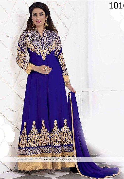 Baronial Blue Embroidery Work Anarkali Salwar Suit