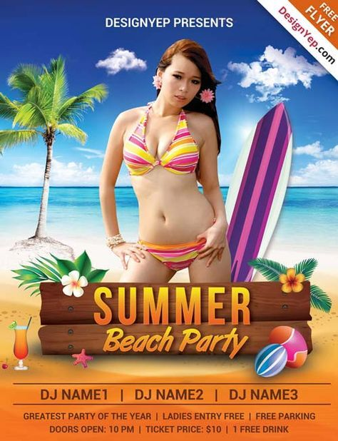 Summer Beach Party Free PSD Flyer Template - http://freepsdflyer.com/summer-beach-party-free-psd-flyer-template/ Enjoy downloading the Summer Beach Party Free PSD Flyer Template by Designyep!  #Beach, #Club, #Dj, #Event, #Party, #Promotion, #Summer