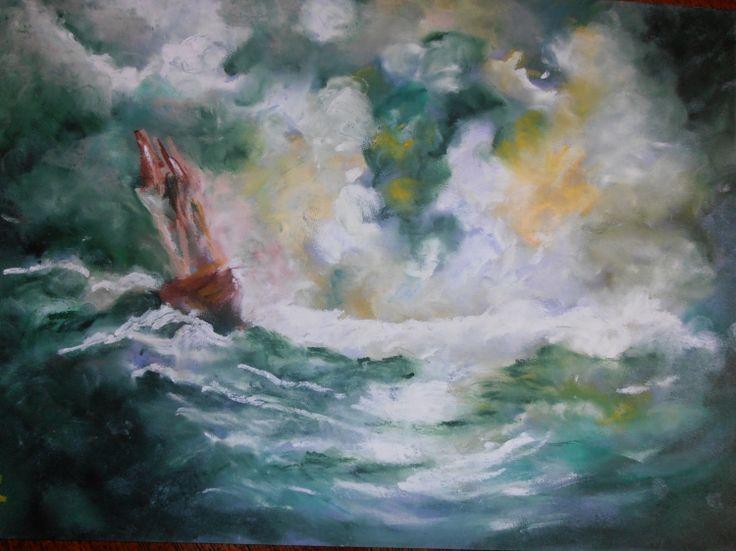 DESSIN pastel gras tempète mer bateau - Le Vendée globe