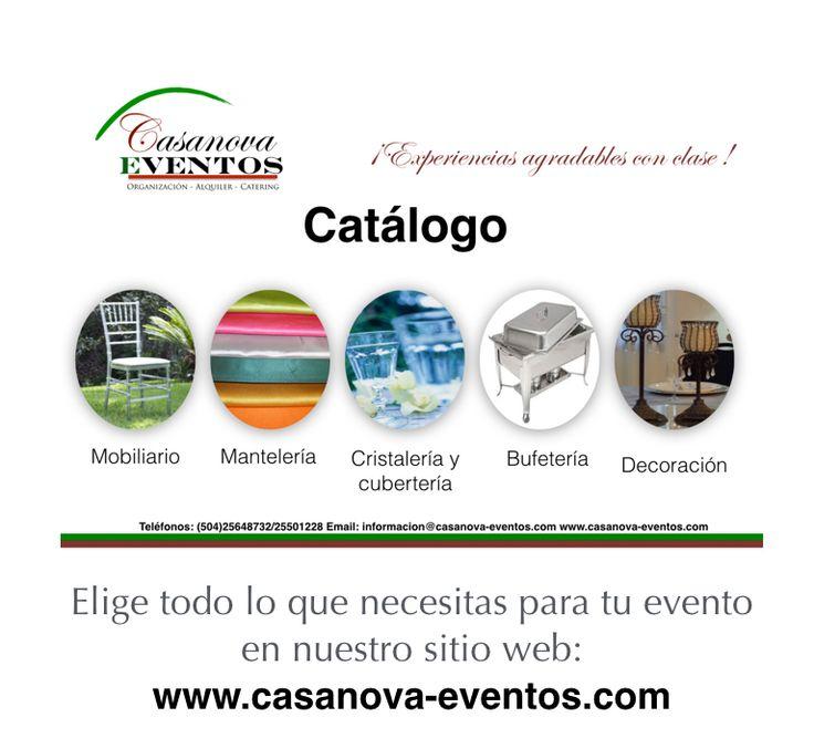 Todo lo que necesitas para tu evento a un click de distancia. Mira nuestro catálogo en línea: http://www.casanova-eventos.com/?page_id=271