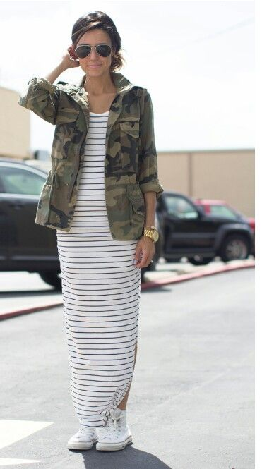 maxi, sneakers, army green & stripes