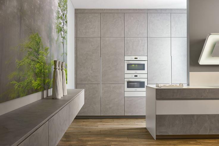 KH Küche Beton Hellgrau, Pianovo Lackmatt Alpinweiss / KH