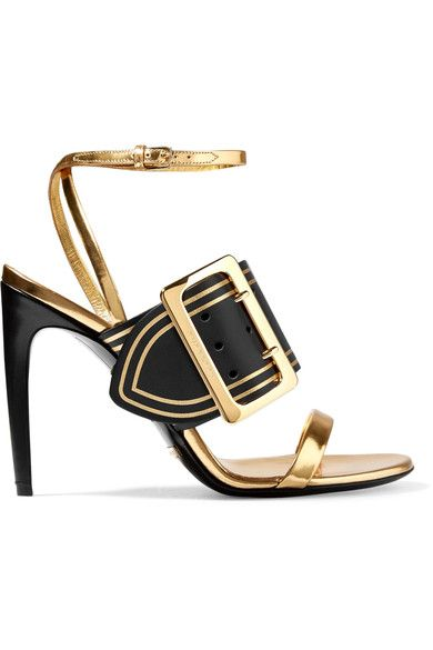 Heel measures approximately 80mm/ 3 inches Black and gold leather  Buckle-fastening ankle strap  Made in Italy