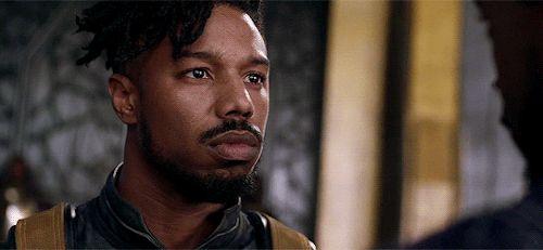 Michael B Jordan as Killmonger in Black Panther