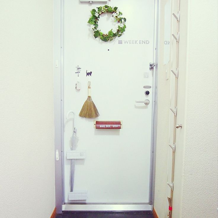セリア×ドアフックのインテリア実例   RoomClip (ルームクリップ) Entrance/ダイソー/マグネット/ドア/収納/ウォールステッカー/100均/