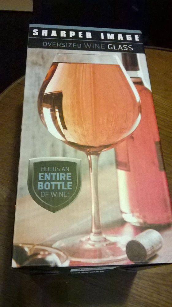 Sharper Image Oversized Wine Glass Holds Full Bottle Clear Glass Holds 39.2 oz #SharperImage