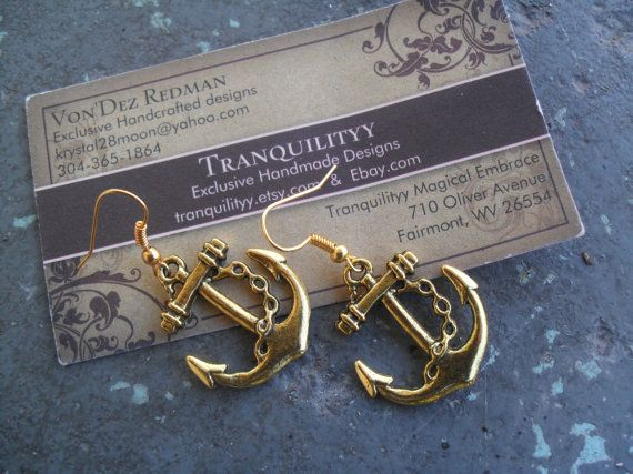 Sexy Gold Crush Sailor Girl Anchor Earrings  by tranquilityy, $4.25