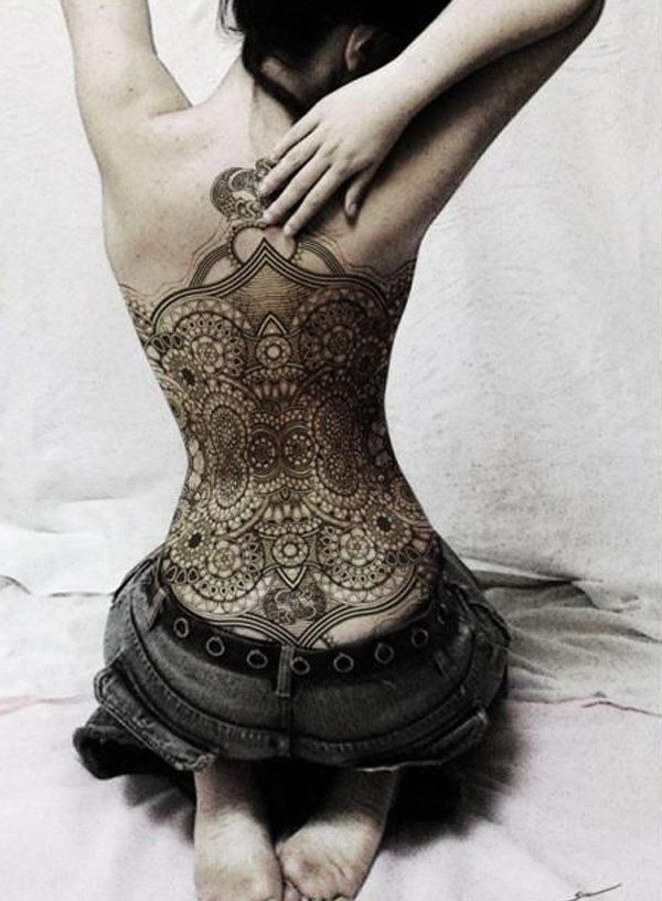 Lace Full Back Tattoo - 45+ Lace Tattoos for Women <3 !