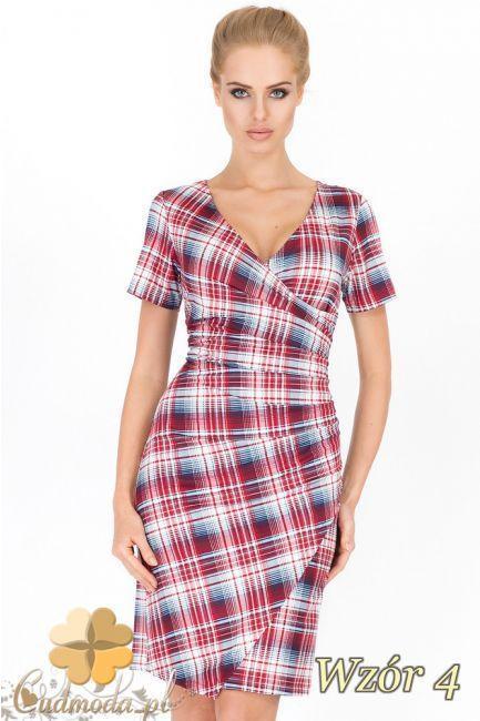 Kobieca sukienka mini w kratę wyprodukowana przez Makadamia.  #cudmoda #moda #styl #ubrania #odzież #sukienki #clothes #dresses #glamour
