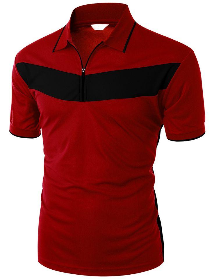 Doublju Men's 2 Tone Pattern Coolmax Fabric Short Sleeve Polo T-Shirt (KWTTS049M) #doublju