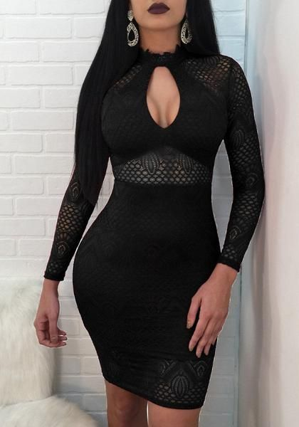 c151b22139cb Black Lace Cut Out Zipper Slit Bodycon Clubwear Party Midi Dress   Clubwearpartydresses