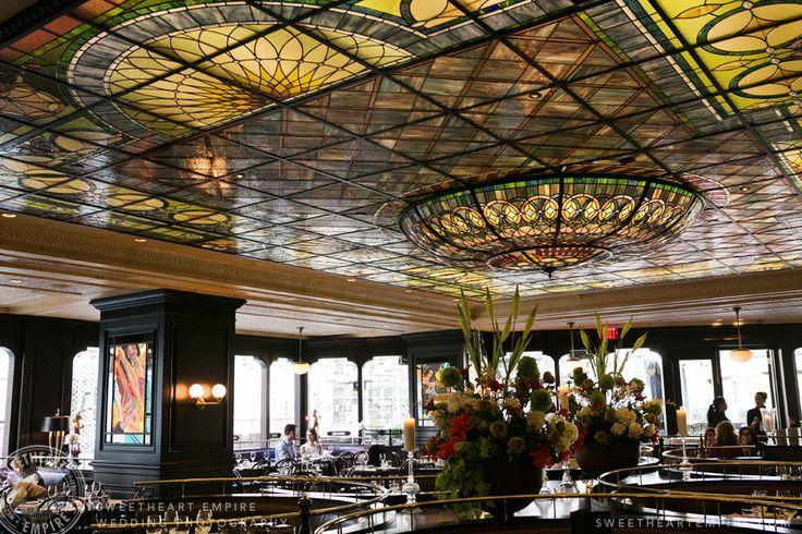 Epic interior glass ceiling. Restaurant engagement photos at La Societe, Yorkville. Toronto wedding photography. #sweetheartempirephotography