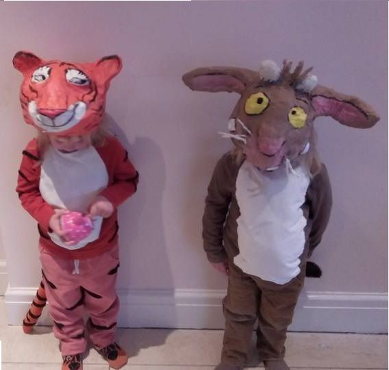 World Book Day fancy dress costumes. The Tiger Who Came To Tea and The Gruffalo's Child. Papier Mache headgear.