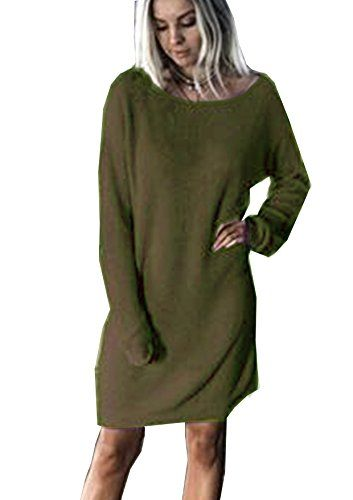 7c2ff9ba761 Yidarton Pull Robe Femme Hiver Large Manche Longue Casual Mini Robes  ( 1-style-Armée verte Small)
