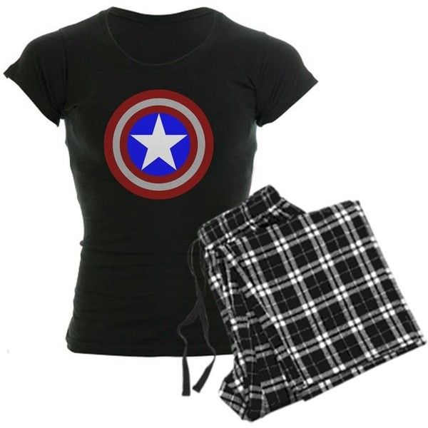 CafePress Captain America Women's Dark Pajamas Women's Dark Pajamas (55 AUD) ❤ liked on Polyvore featuring intimates, sleepwear, pajamas, pijamas and shirts