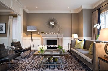 Benjamin Moore Ashley Gray.  A darker rich neutral that is still subtle.  Perfect in this space.